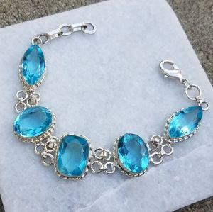 925 silver ocean blue topaz gemstone bracelet